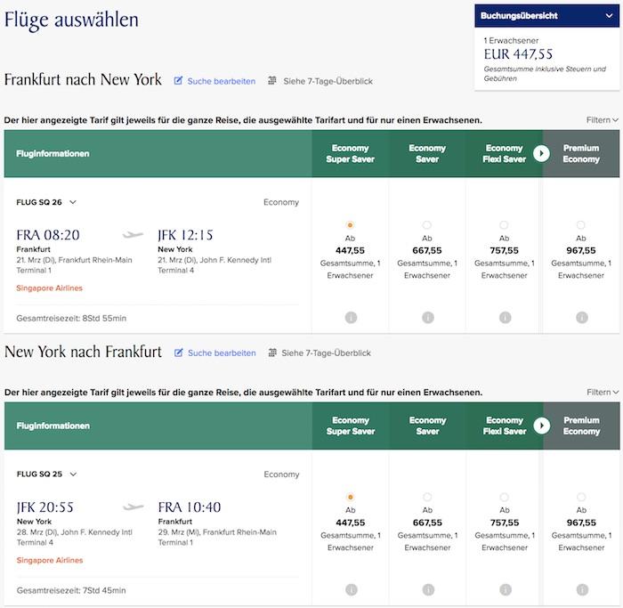 singapur airlines flug buchen